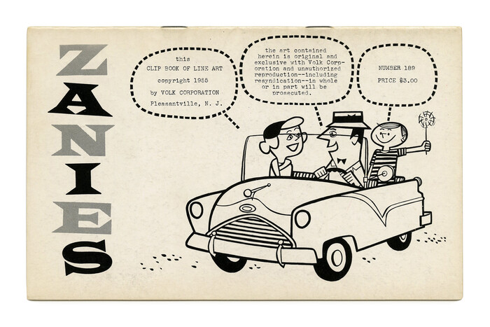 """""""Zanies"""" (No. 189) ft. stacked glyphs from  in alternating shades. The text in the balloons was typed on a typewriter."""