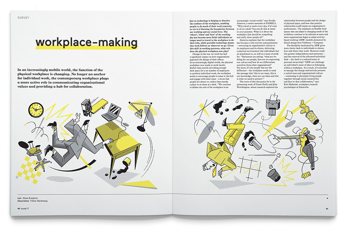 Essay on Workplace Making as featured in Inside, Issue #77. Illustration by Viktor Hachenberg.
