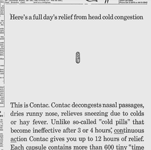 "Contac ad: ""Here's a full day's relief…"""