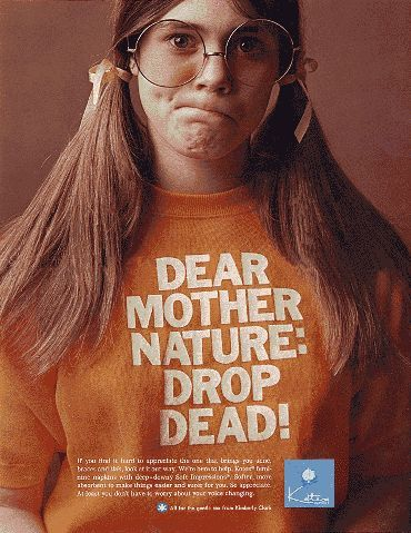 "Kotex Ad: ""Dear Mother Nature: Drop Dead!"" (1970) 2"