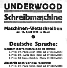 Underwood typewriter ad