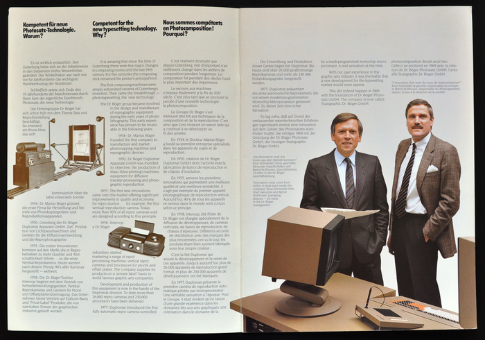 Spread from the Scangraphic 1985 imagebrochure. The photo on the right shows Knut Schmiedel (CEO, left) and Bernd Holthusen (managing director, right) of Scangraphic Dr. Böger. Bernd Holthusen had originally started working at the company while studying industrial design. Dr. Marius Böger soon recognized his artistical and technical talents and Bernd Holthusen became the designer and the driving force behind the major technical devolpments of the company on the field of phototypesetting.