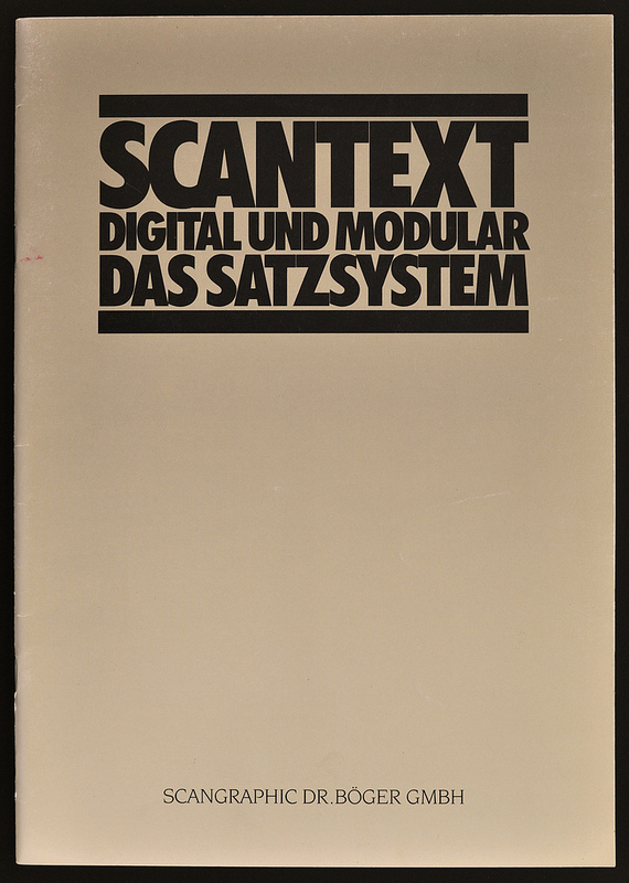 Scangraphic system brochure from 1985 showing the complete Scantext 1000 digital typesetting system.
