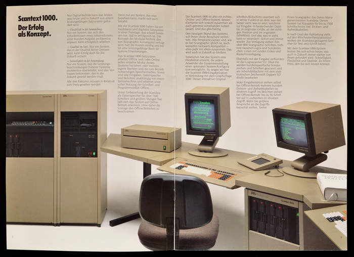 On the left the Scantext 1000 CRT film recorder and Scandata data management system with a total maximum disk capacity of 156 Mb. The Scantext 1000 input on the right is equipped with 4 8-Inch floppy disk drives.