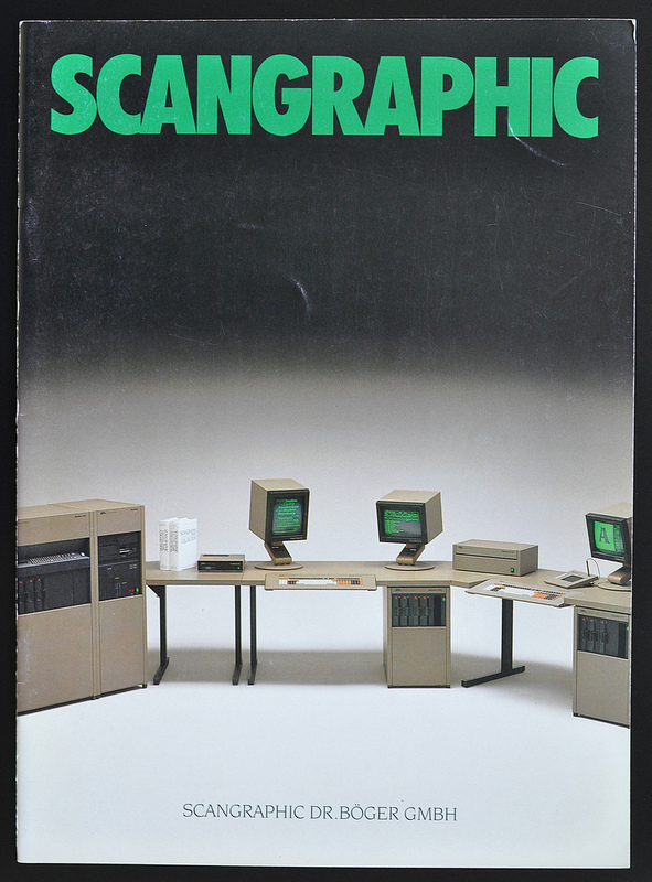 Cover of the Scangraphic 1985 image brochure showing the Scantext 1000 digital typesetting system.
