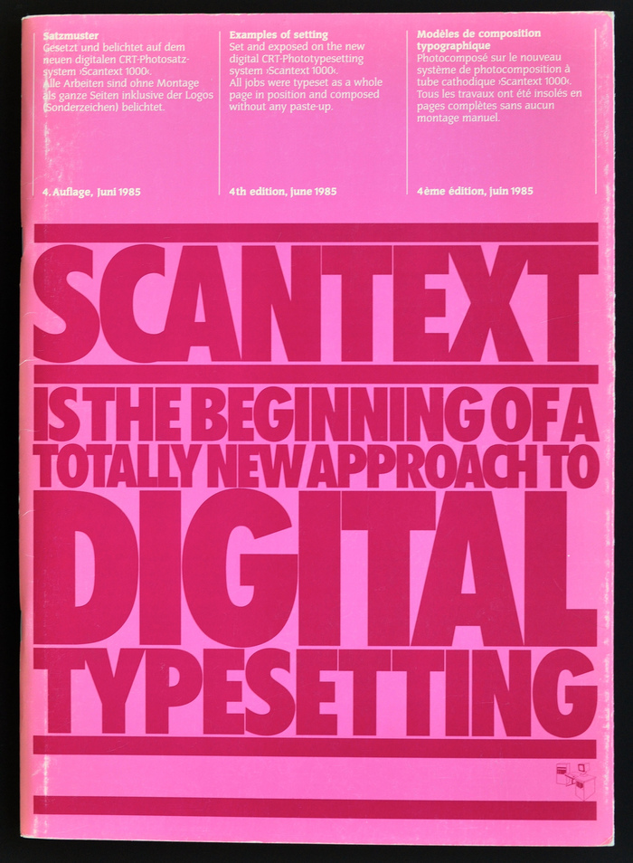 Cover of brochure showing typesetting specimen composed on a Scantext 1000 system. The film output was made on a Scantext 1000 CRT film recorder. The cover and some of the typesetting specimen were designed by Erik Spiekermann.