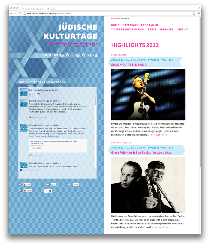 While the logo on the left is a static image, the text on the right is rendered with webfonts: juedische-kulturtage.org