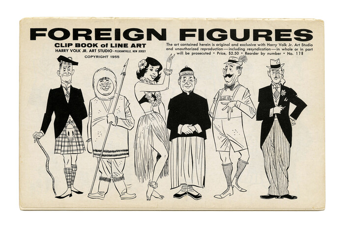 """""""Foreign Figures"""" (No. 178) ft. . Illustration by Bob Bugg (?). Secondary typefaces include , , , and ."""