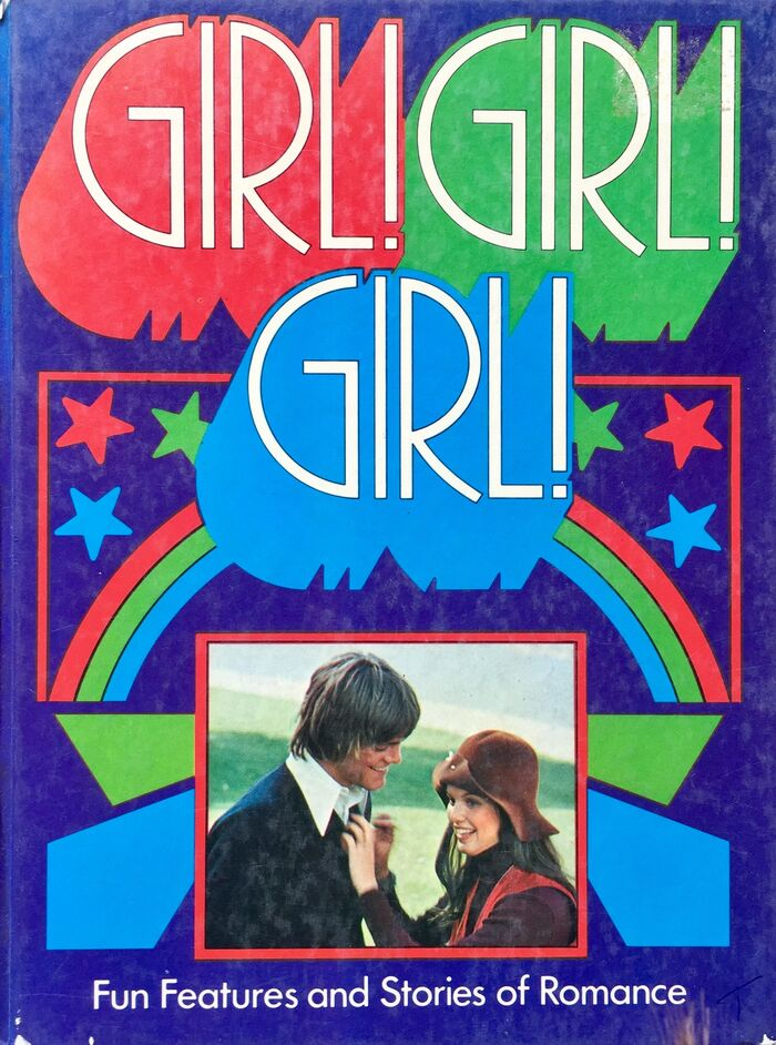 """The cover typography for the 1973 edition suggests that by then, the Art Nouveau revival was finally dead, and a reappraisal of Art Deco forms from the 1930s was the next big thing. The title appears to be lettering based on  (Letraset, 1970). """"Fun Features and Stories of Romance"""" is set in  (1927)."""