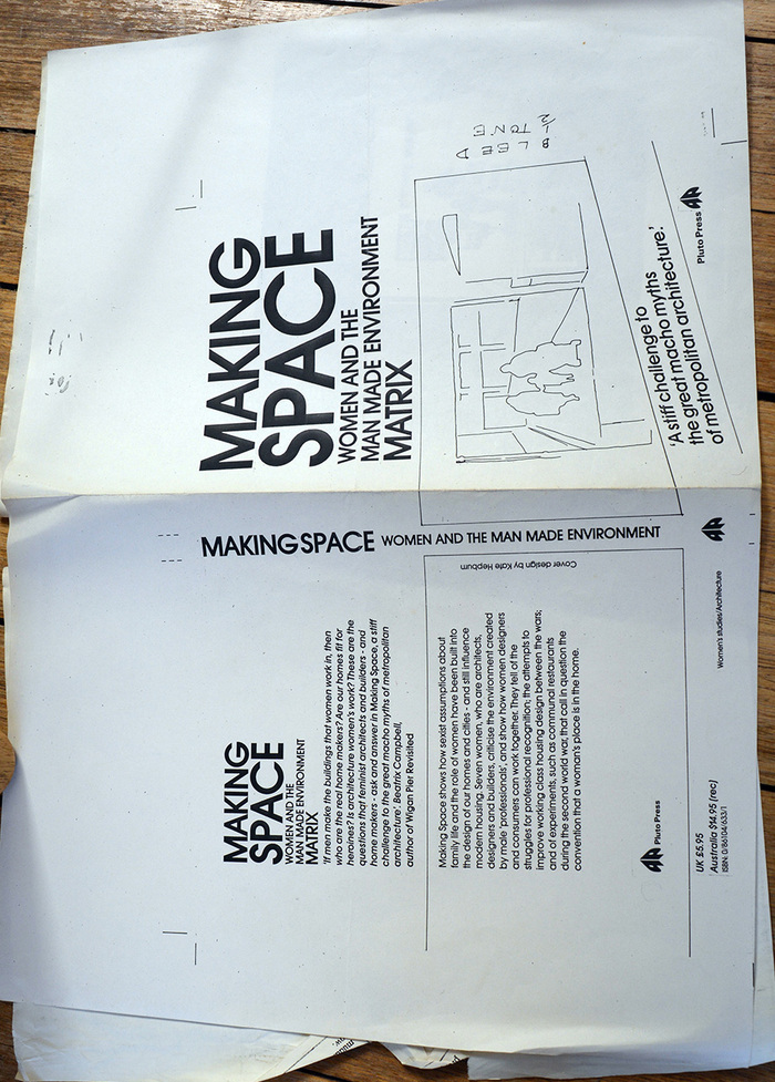 A mock-up courtesy of Matrix Open Feminist Architecture Archive. Note in this mock-up all the text is typeset (in Avant Garde Gothic), unlike the final art, where the main title has been hand drawn.