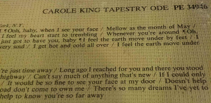 Carole King – Tapestry album art 3