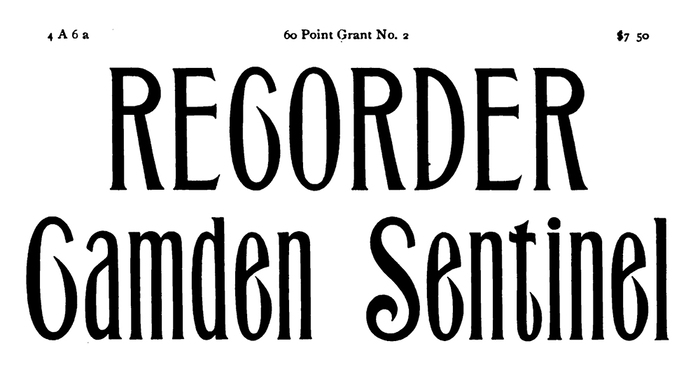 Sample of 60 Point Grant No. 2 in Barnhart Brothers & Spindler's Specimen Book of Type (1900).