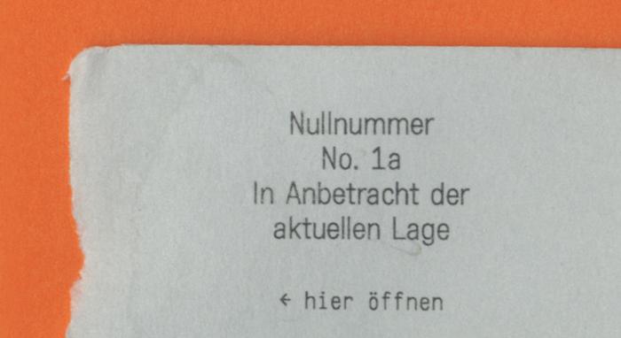 Nullnummer, No. 1a 1