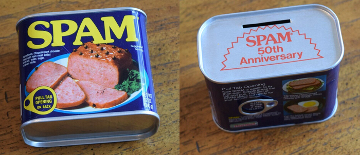 """Spam can from 1987. """"50th anniversary"""" is in ."""