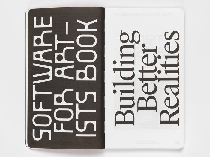 """Software for Artists Book #001, """"Building Better Realities"""" 3"""