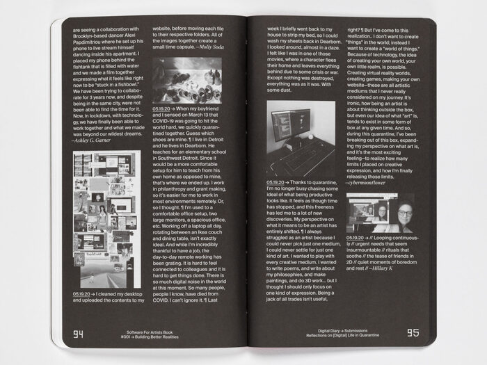 """Software for Artists Book #001, """"Building Better Realities"""" 7"""