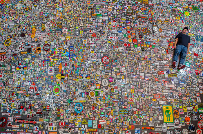 """Michaël """"Jason"""" Plasse and his sticker collection."""