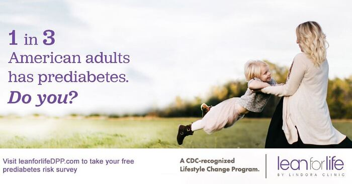 """""""1 in 3 American adults has prediabetes"""" ad for Lindora Clinic's Lean for Life program, using several styles from the Jubilat family, including its italics."""