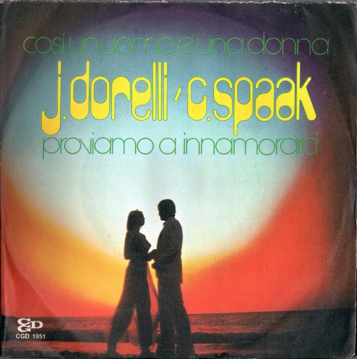 """Johnny Dorelli & Catherine Spaak – """"Così un uomo e una donna"""" / """"Proviamo a innamorarci"""" single cover"""
