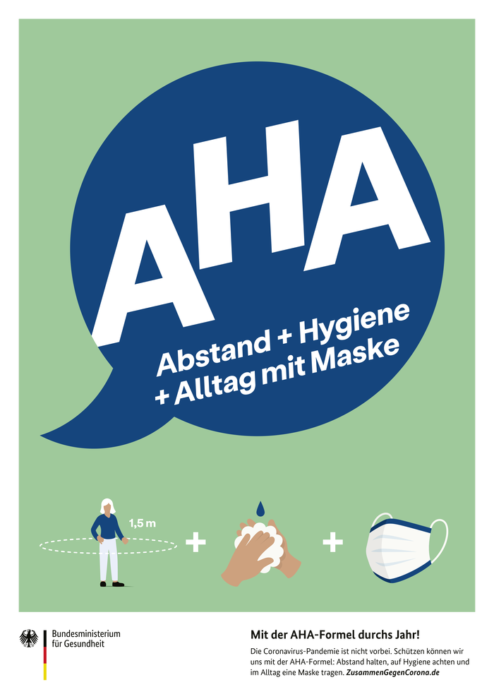 """Poster advertising the """"AHA formula"""" of distancing, hygiene, and masks."""