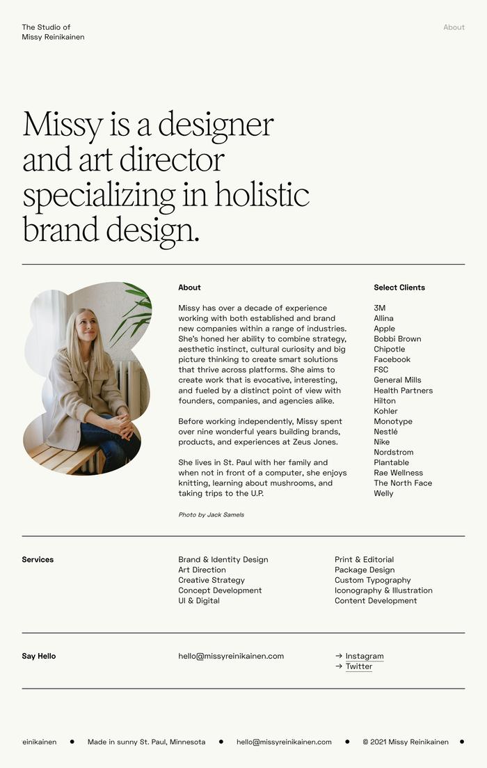 Missy Reinikainen Studio website 4