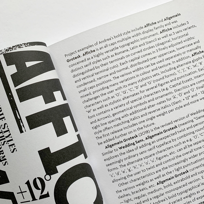 Datail of a text page set in Neue Kramer Grotesk.