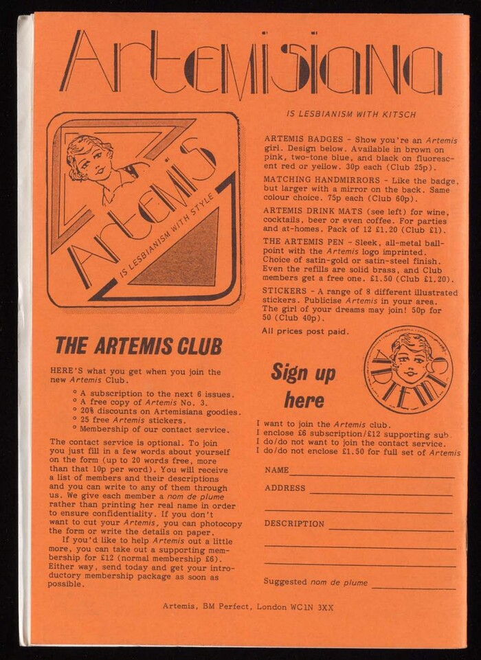 Back cover of Artemis 5, featuring  Italic, which was also available from Letraset.