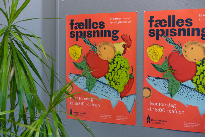 Community dinner (Fællesspisning) poster feat. tightly spaced Proto Grotesk Bold with omitted i dots.