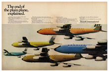 """""""The end of the plain plane, explained"""" ad by Braniff International (1966)"""
