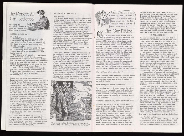 Spread from the interior, with letters to the editors and an interview. Headlines are in University Roman (Letraset, 1976). The monospaced cursive in the speech balloon is . There are at least three other (proportionally spaced) typewriter faces which are not yet identified. The body text looks like it was produced on one of the variable typewriters, maybe a Diablo or a Selectric.