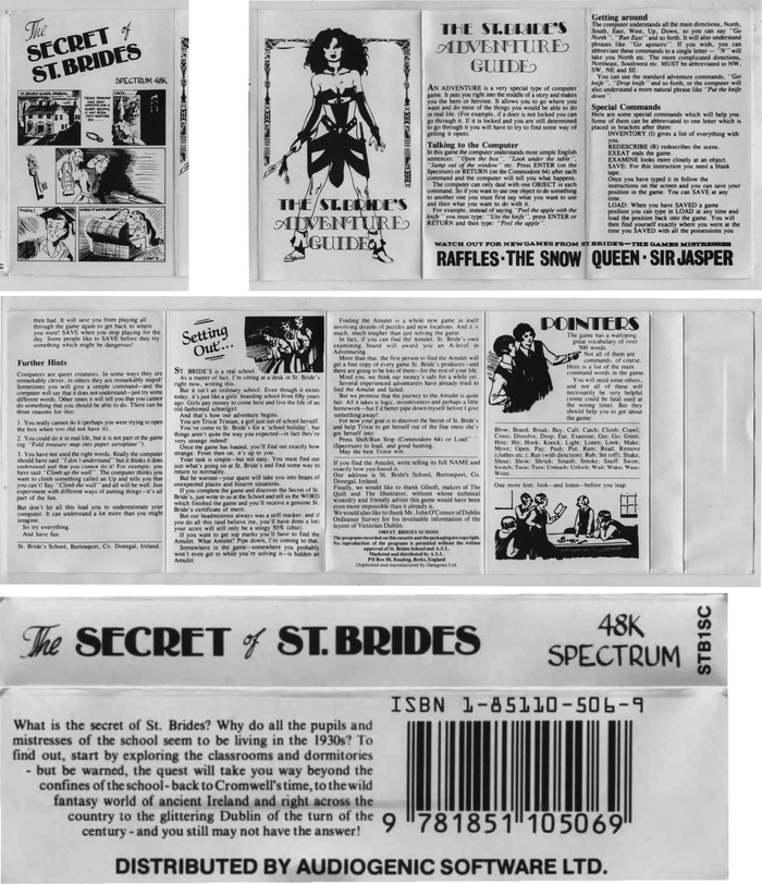 Cassette inlay for the 1985 text adventure game The Secret of St. Brides.