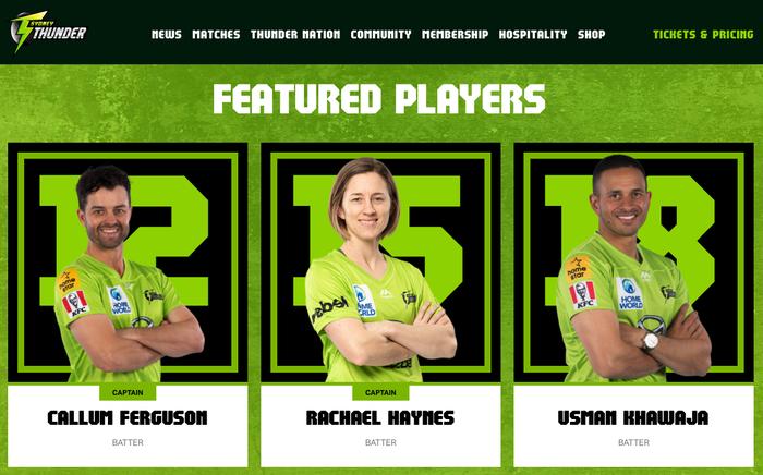 Sydney Thunder website and social media 2