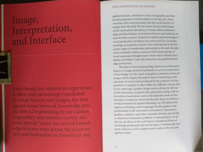 Opening for first chapter. Chapters open with a red field on the left-hand page, and set the entire text larger.