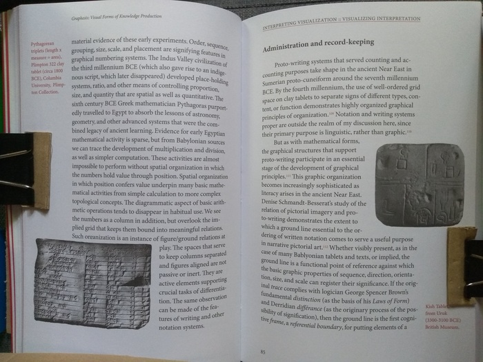 Typical opening in Graphesis. Shows captions in margins in Italic using red ink, and text flowing around figures. The text block is set ragged-right and I still find the hyphenation a bit alarming. Running headers are book title on the left-hand page, and chapter title, underlined in red, on the right-hand page. Page numbers at the bottom align with the left-hand side of the text block, for both left- and right-hand pages.