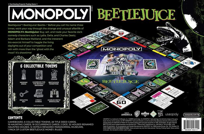 """Back/bottom of the Monopoly box set, with most text set in , and Meltdown used for """"Contents""""."""