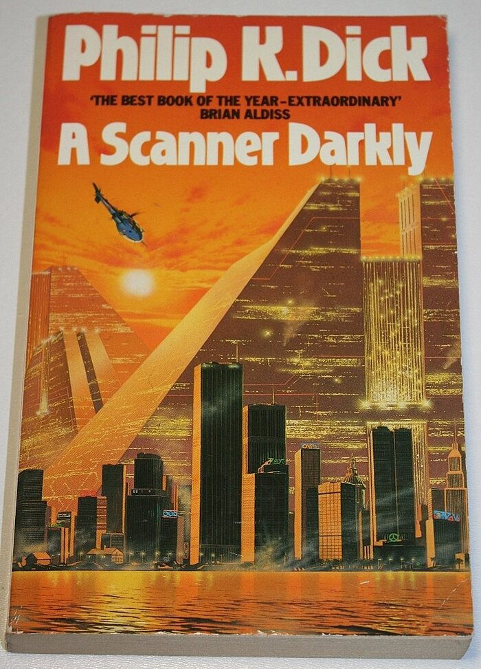 A Scanner Darkly (1985). Cover art by Trevor Webb. [More info on ISFDB]