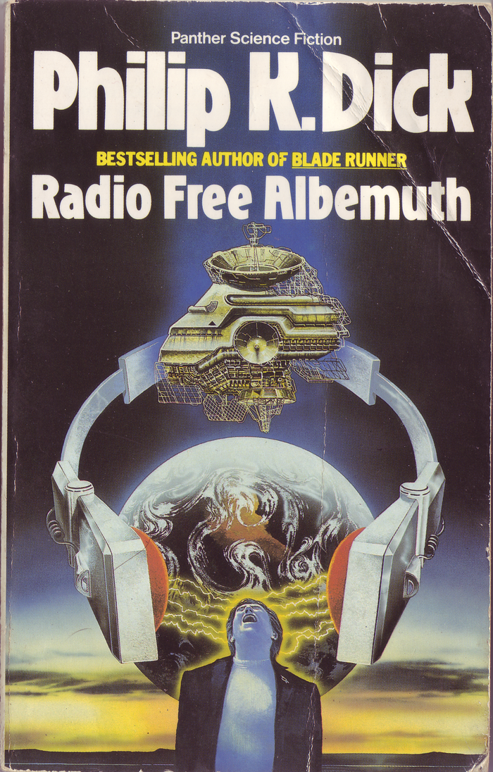 Radio Free Albemuth (1988). Cover art by Tony Roberts. [More info on ISFDB]