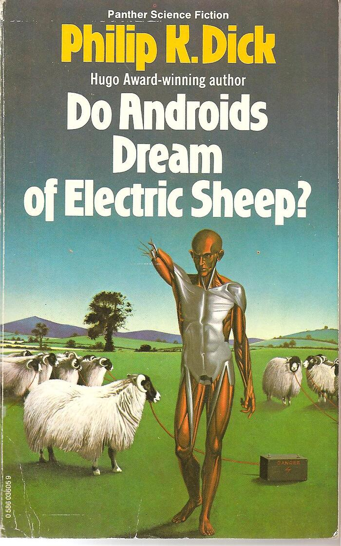 Do Androids Dream of Electric Sheep? (1977). Cover art by Peter Goodfellow. [More info on ISFDB]