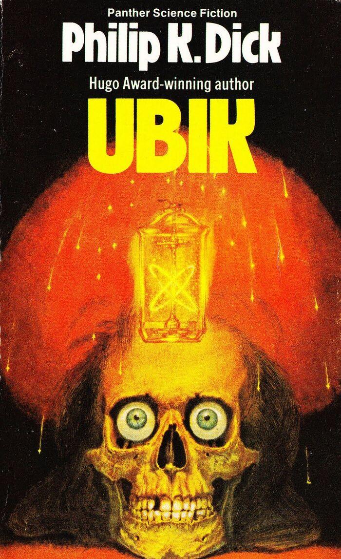 Ubik (1978). Cover art by Ian Robertson. [More info on ISFDB]