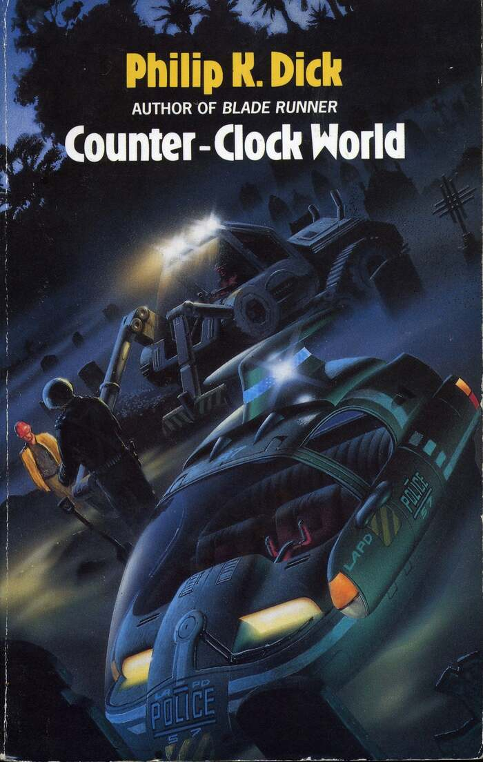 Counter-Clock World (1990). Cover art by Chris Moore. [More info on ISFDB]