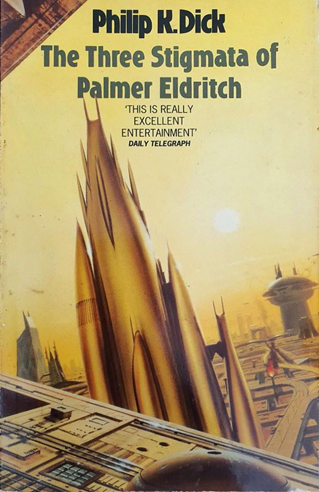 The Three Stigmata of Palmer Eldritch (1992). Cover art by Chris Moore. [More info on ISFDB]