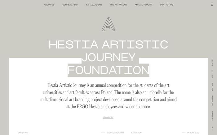 Hestia Artistic Journey website 1
