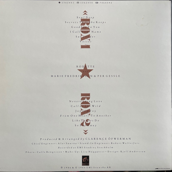 Back side. Inside joke: Rox 1 and Rox 2 mean Side 1 and Side 2. Rox1 in Swedish is pronounced Roxette. The track list is set in  Italic, loosely spaced and with roman caps.