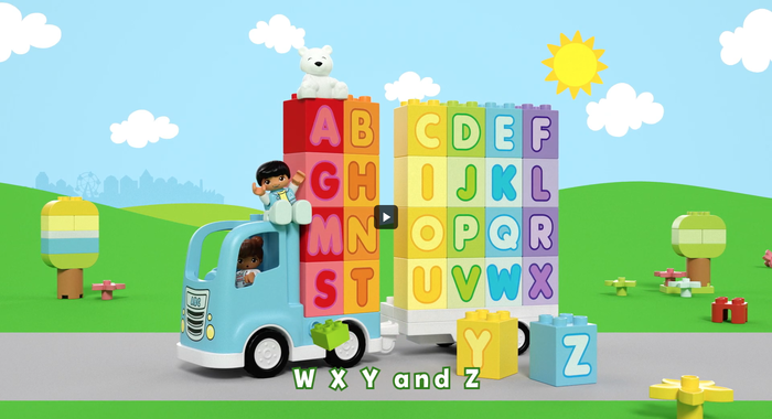 The subtitles use . The letterforms on the blocks themselves appear to be loosely based on  or similar.