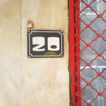 House number at Romvis 20, Athens