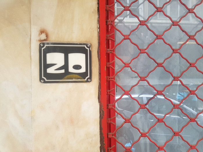 House number at Romvis 20, Athens 2