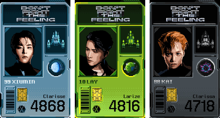 Screens from the Exo-Ship Saga web game, with the bitmap logo based on Trois Mille. The UI typography uses unidentified bitmap fonts.