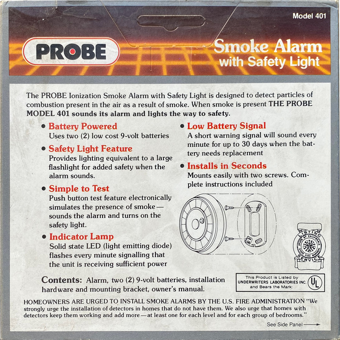 Probe Smoke Alarm with Safety Light packaging 2