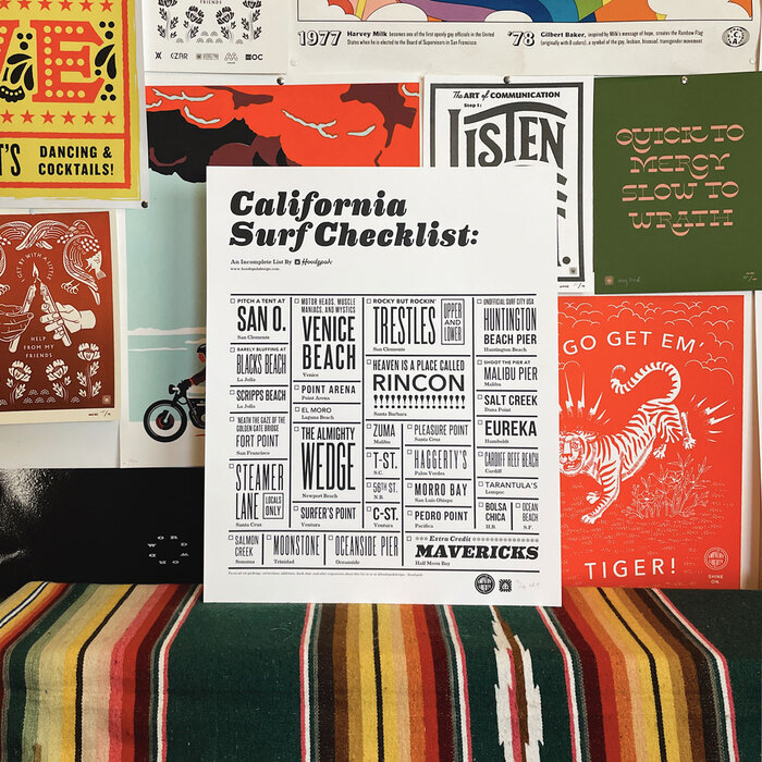 """California Surf Checklist"" poster 1"