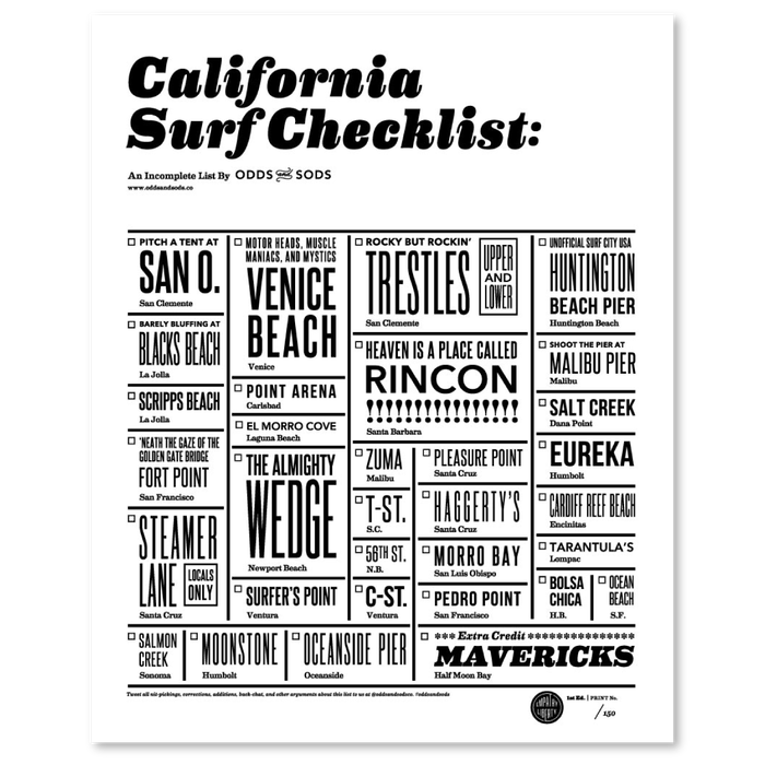 """California Surf Checklist"" poster 6"